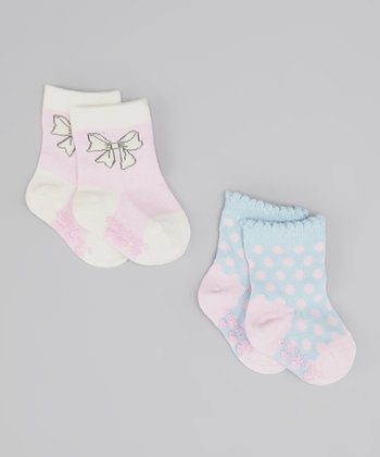 Cream & Blue Precious Socks Set