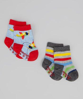 Blue & Red Take Off Socks Set