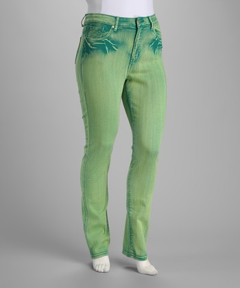 Green Distressed Stretch Jeans - Plus