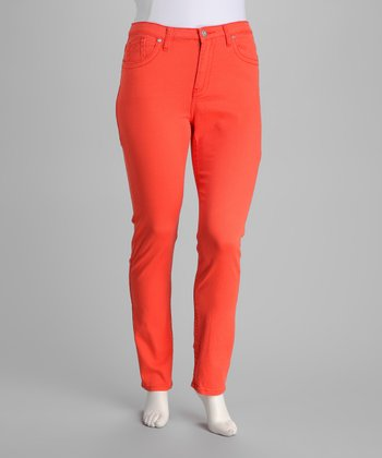 Coral Stretch Plus-Size Skinny Jeans