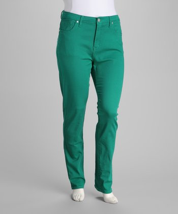 Jade Green Stretch Plus-Size Skinny Jeans