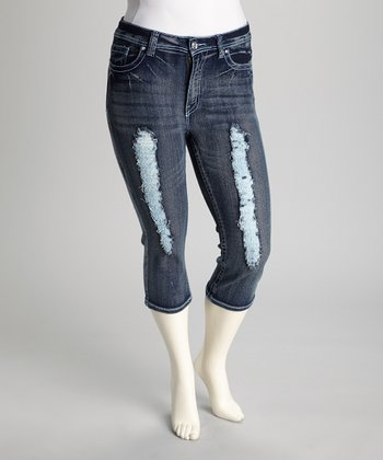 Dark Blue Distressed Plus-Size Capri Pants