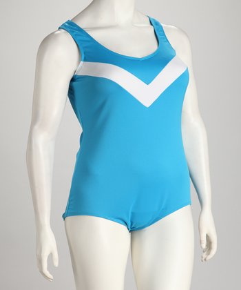 Light Blue & White One-Piece - Plus