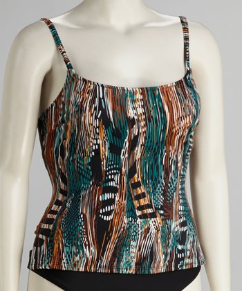 Teal & Brown Abstract Tankini Top - Women