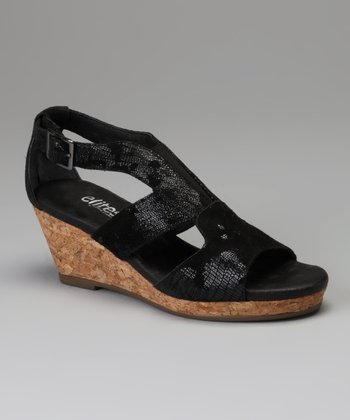 Black Neely Wedge Sandal