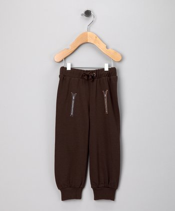 Brown Zipper Pants - Infant & Toddler
