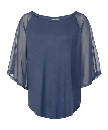 Blue Indigo Colorado Cape-Sleeve Top - Women