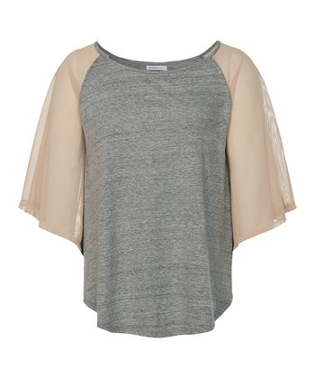 Heather Gray Colorado Cape-Sleeve Top - Women