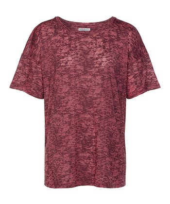 Burgundy Kyle Burnout Tee - Women