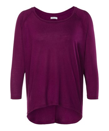 Dark Purple Rosebud Dolman Top - Women