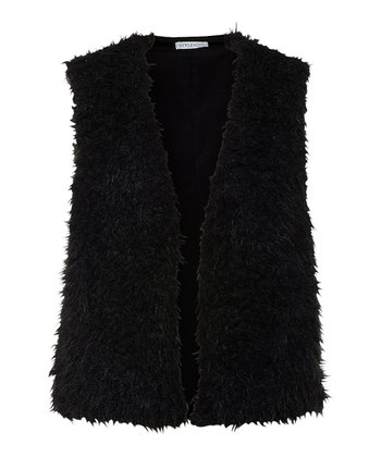 Black Faux Fur Parker Vest - Women