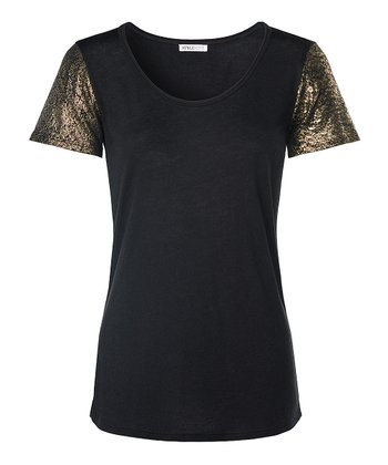 Black Metallic-Sleeve Nora Top - Women