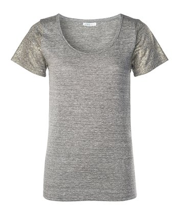Heather Gray Metallic-Sleeve Nora Tee