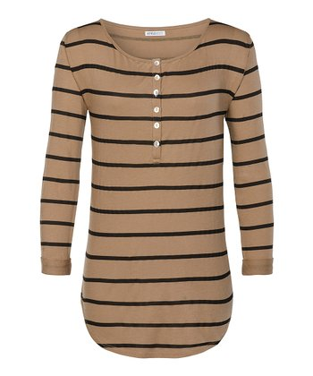 Woodsmoke & Black Finn Filmore Stripe Henley - Women