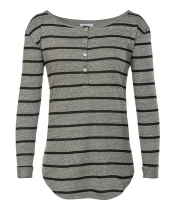 Heather Grey & Black Finn Fillmore Stripe Henley - Women