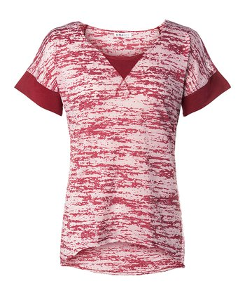 Red Carnaby Burnout Tee - Women