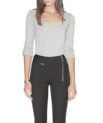 Gray Crescent V-Neck Top - Women