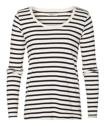 Ivory & Black Stripe Dalton Tee - Women