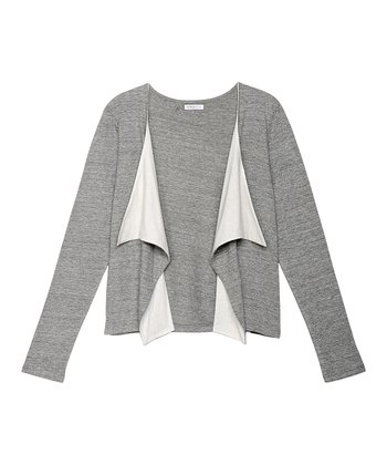 Heather Grey & Ivory Benson Open Cardigan - Women