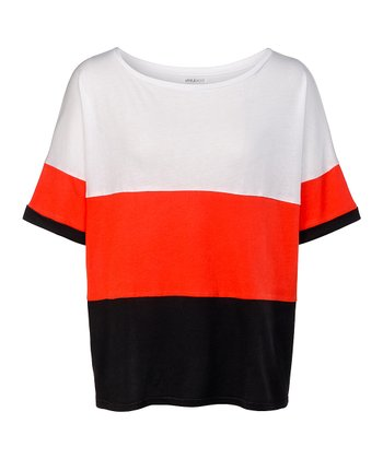 White & Fiery Red Color Block Malibu Top - Women