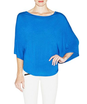 Royal Blue Miller Cape-Sleeve Top - Women