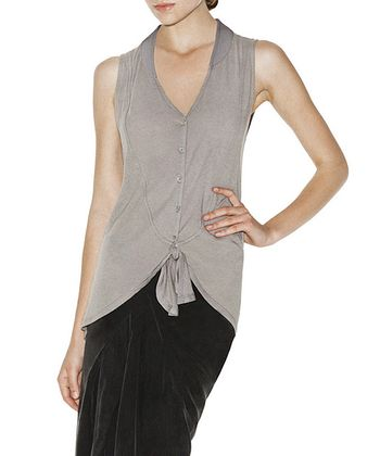 Silver Violet Sleeveless Button-Up Top - Women