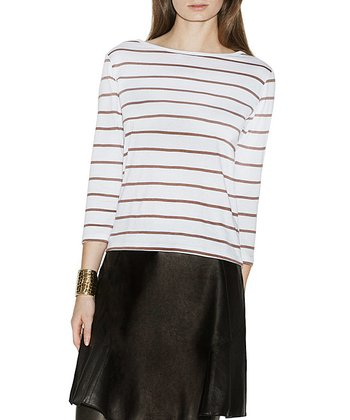 Mushroom & Ivory Stripe Berlin Top - Women