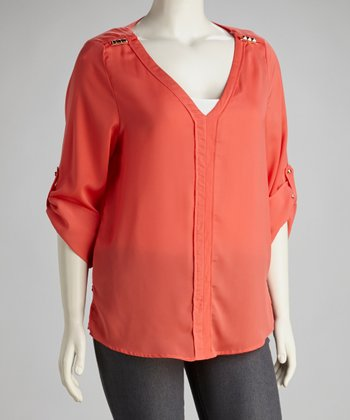 Mango Stud-Embellished V-Neck Top - Plus