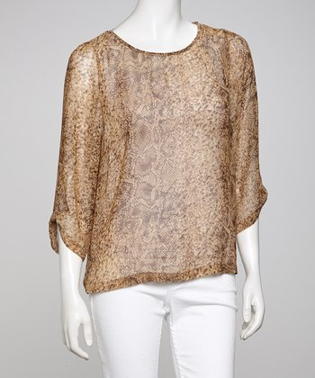 Gold Sheer Animal Dolman Top