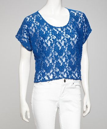 Cobalt Sheer Lace Top