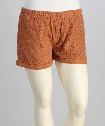 Camel Lace Plus-Size Shorts