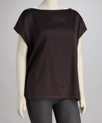 Charcoal Keyhole Plus-Size Boatneck Top