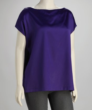 Indigo Keyhole Plus-Size Boatneck Top
