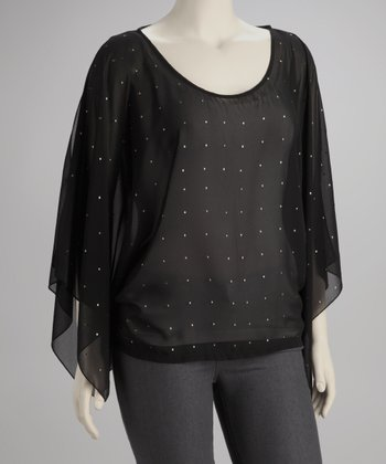 Black Stud Plus-Size Top