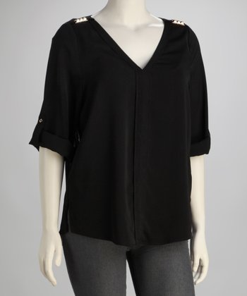 Black Stud-Embellished V-Neck Top - Plus