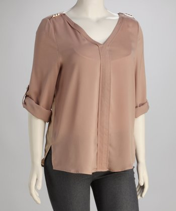 Taupe Stud Embellished V-Neck Top - Plus
