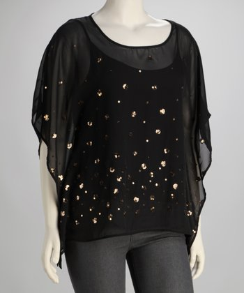 Black Sequin Plus-Size Cape-Sleeve Top