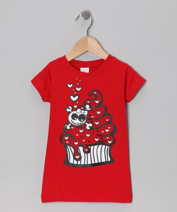 Red Cupcake Skull Tee - Toddler & Girls