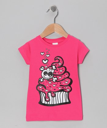 Hot Pink Cupcake Skull Tee - Toddler & Girls