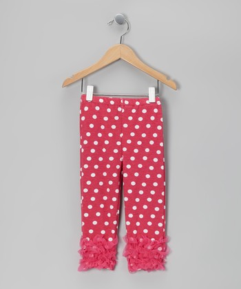 Hot Pink Polka Dot Ruffle Leggings - Toddler & Girls