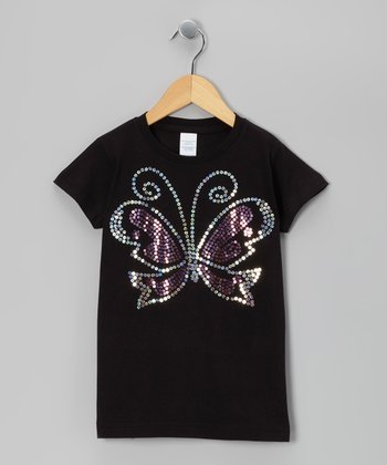 Black Sequin Butterfly Tee - Toddler & Girls