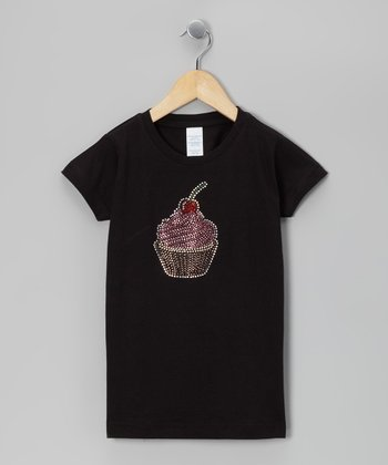 Black Rhinestone Cupcake Tee - Toddler & Girls