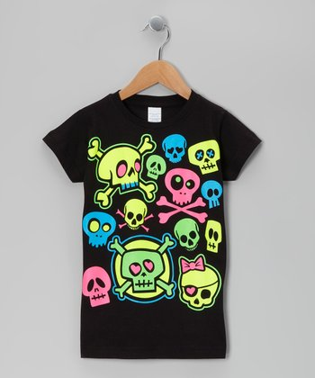 Black Neon Skullz Tee - Toddler & Girls