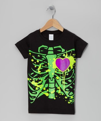 Black Neon Ribs Tee - Toddler & Girls