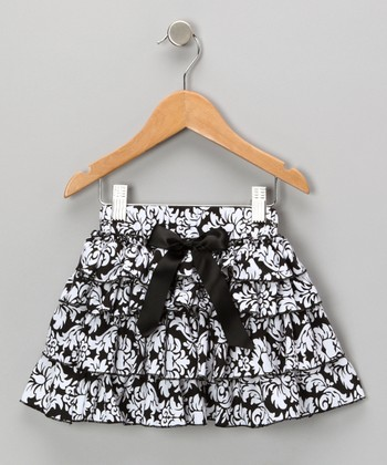 Black Damask Tiered Ruffle Skirt - Toddler & Girls