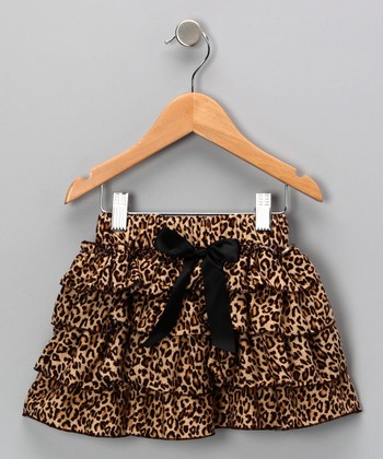 Tan Leopard Tiered Ruffle Skirt - Toddler & Girls