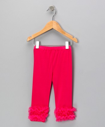 Hot Pink Ruffle Leggings - Toddler & Girls