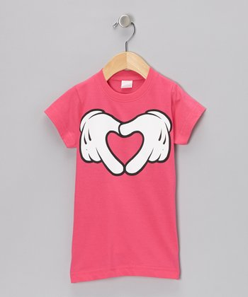 Hot Pink Cartoon Hand Heart Tee - Toddler & Girls