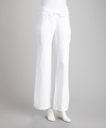 White Drawstring Linen Pants