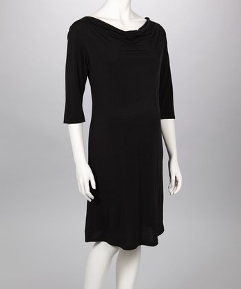 Black Cowl Neck Maternity Dress